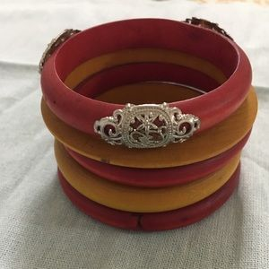 Wooden bangles Red and Mustard Yellow